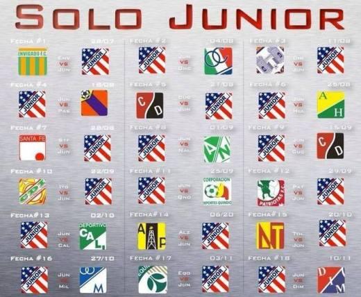 Calendario de JUNIOR DE BARRANQUILLA para la LIGA POSTOBON II – 2013
